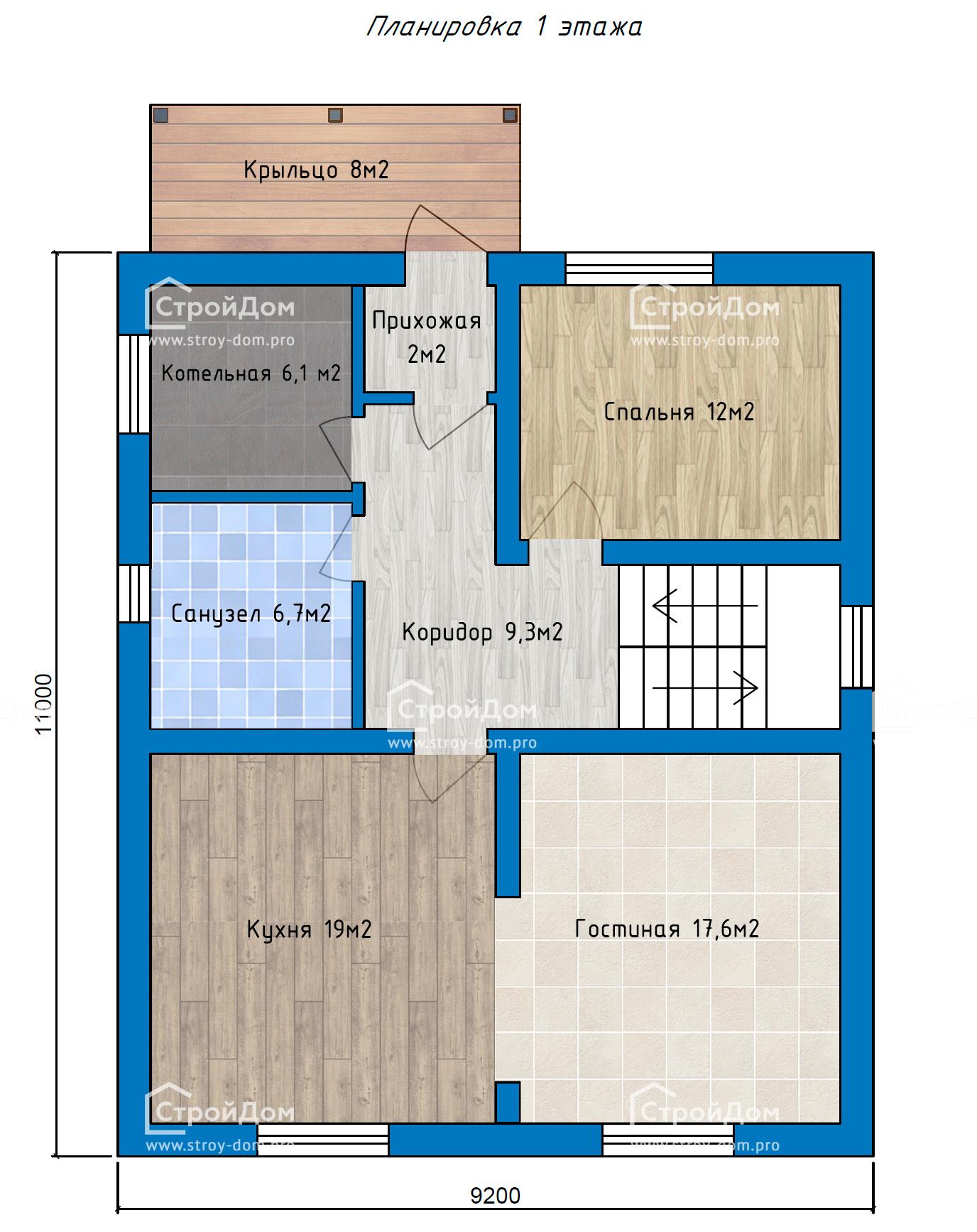 План 1 этажа с полами